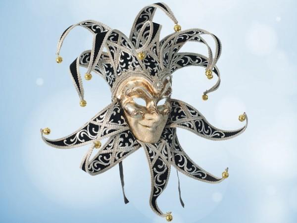 Venezianische Joker-Maske in Schwarz