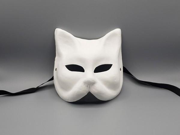 Blanco Katzen-Maske aus Pappmaché