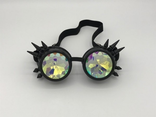 Steampunk goggles black with spikes and kaleidoscope lenses