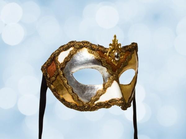 Festmaske mit Blattgold