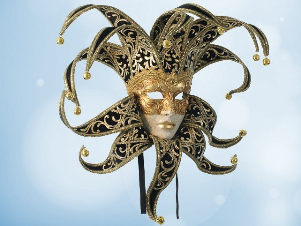Venezianische Narrenmaske (Jester) in Schwarz