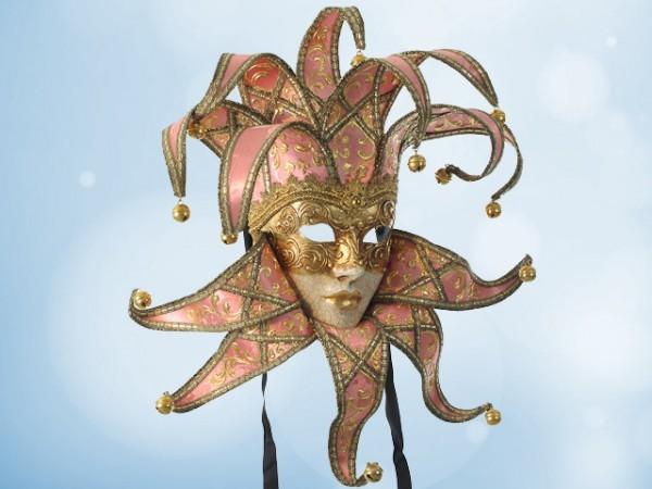 Venezianische Narrenmaske (Jester) in Pink