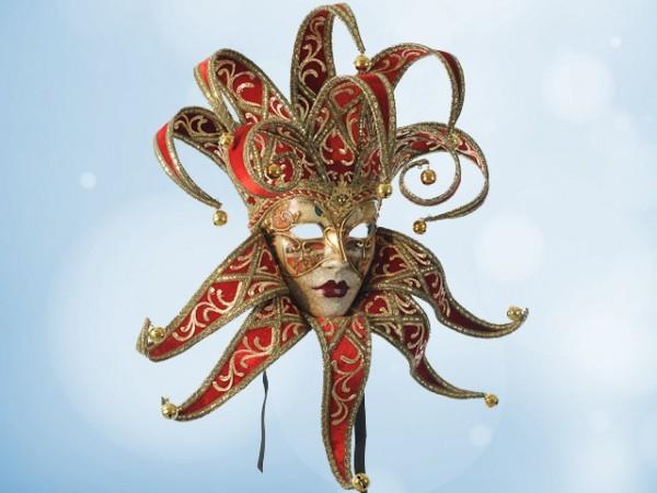 Venezianische Narrenmaske (Jester) in Rot