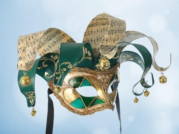 Venezianische Jolly-Maske in Grün