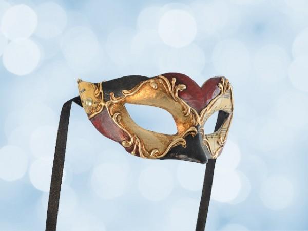 Ballmaske für ein Kind in Rot, Schwarz und Gold