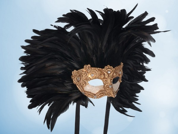 Goldene Ballmaske mit schwarzen Federn für Herren