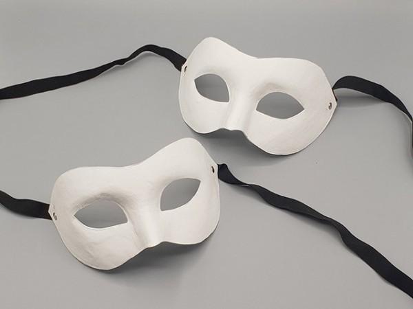 Weiße Halbgesichtsmaske aus Pappmaché, pro 2 Stück