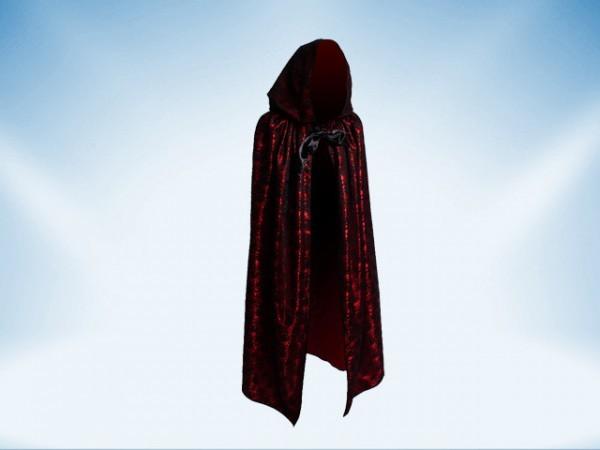 Umhang mit Kapuze aus schwarzer Spitze mit rotem Futter