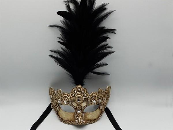 Silberne Maske mit schwarzem Federbusch