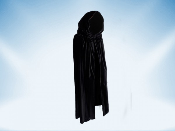 Schwarzer Umhang mit Kapuze aus Samt