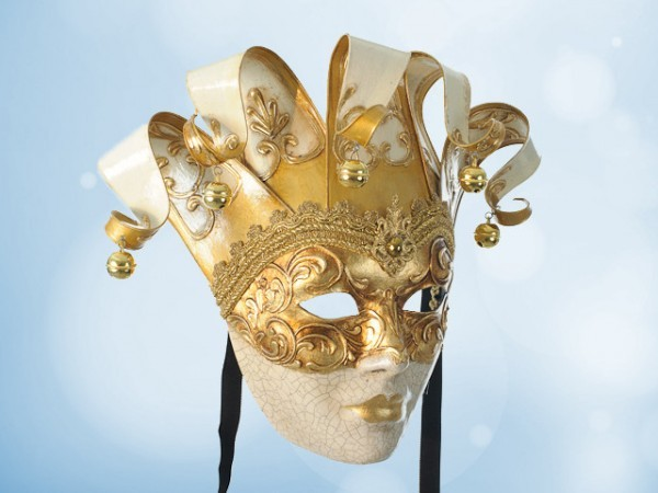 Dekorative venezianische Maske in Weiß