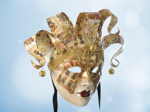Dekorative venezianische Maske mit Spielkartenmotiv
