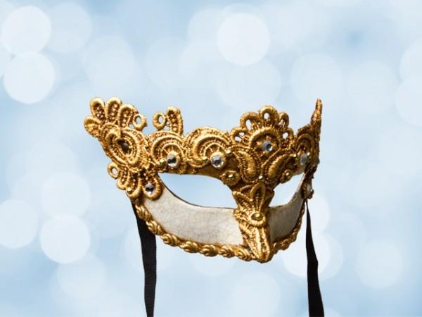 Venezianische Ballmaske mit vergoldeter Spitze für Frauen