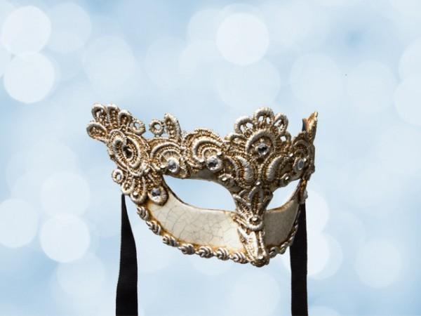 Venezianische Ballmaske mit versilberter Spitze für Frauen