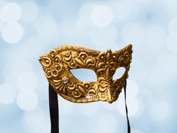Venezianische Ballmaske aus vergoldeter Spitze für Männer