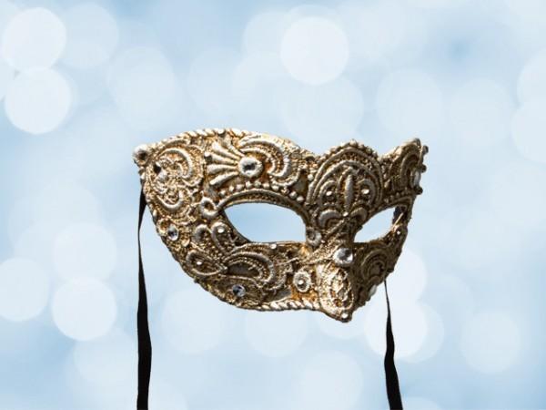 Venezianische Ballmaske aus versilberter Spitze für Männer